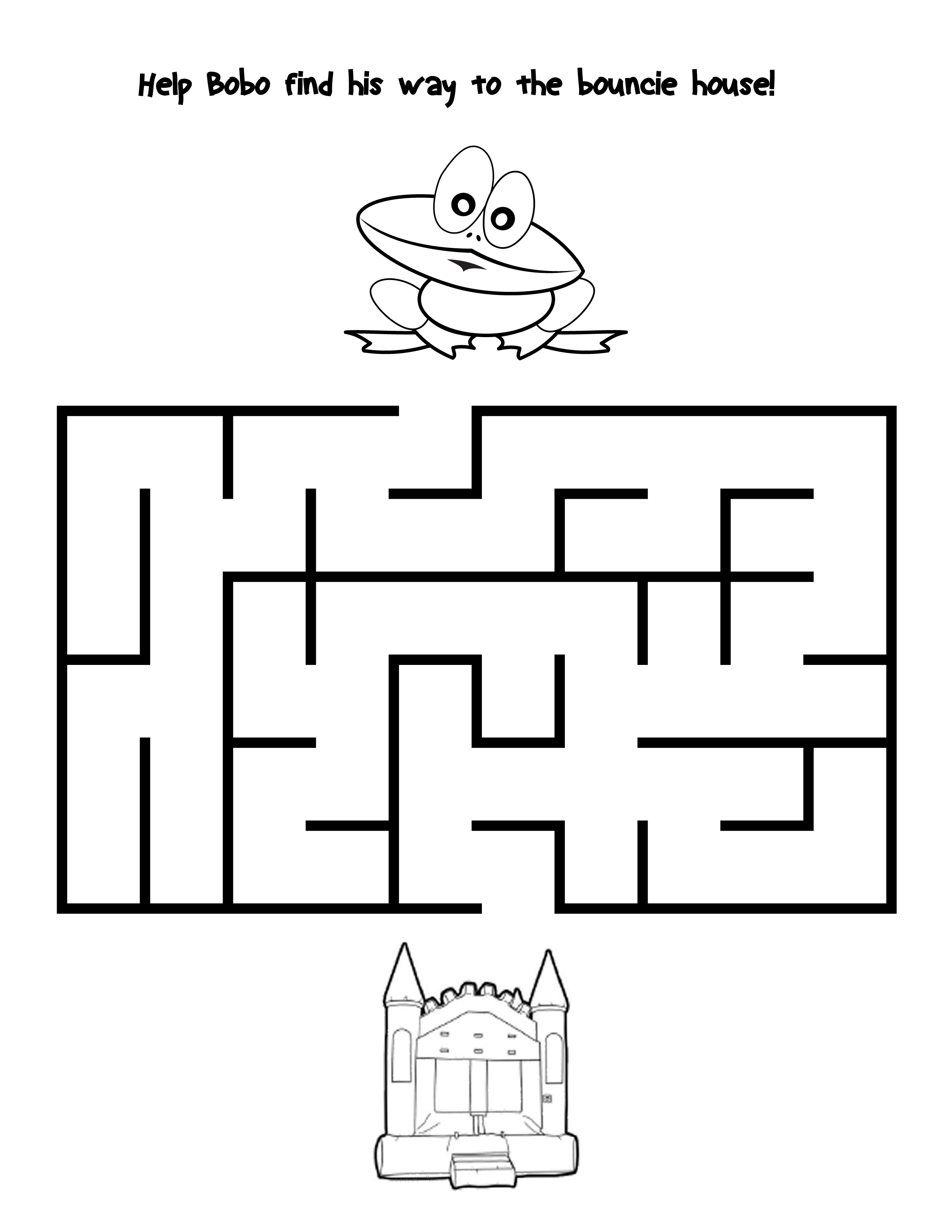 coloring activity pages party rentals in spring tx bobo bouncers